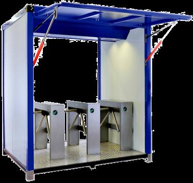Contenedor portátil con tornos box trípode de control de accesos